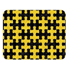 Puzzle1 Black Marble & Yellow Colored Pencil Double Sided Flano Blanket (large)