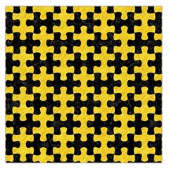 Puzzle1 Black Marble & Yellow Colored Pencil Large Satin Scarf (square)
