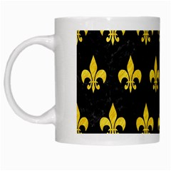 Royal1 Black Marble & Yellow Colored Pencil White Mugs