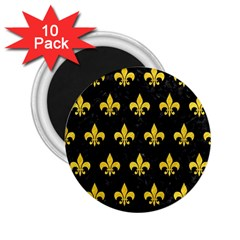 Royal1 Black Marble & Yellow Colored Pencil 2 25  Magnets (10 Pack)