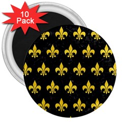 Royal1 Black Marble & Yellow Colored Pencil 3  Magnets (10 Pack)