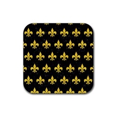 Royal1 Black Marble & Yellow Colored Pencil Rubber Square Coaster (4 Pack)