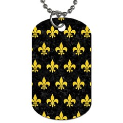Royal1 Black Marble & Yellow Colored Pencil Dog Tag (one Side)