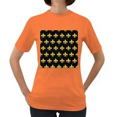 Royal1 Black Marble & Yellow Colored Pencil Women s Dark T Shirt