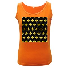 Royal1 Black Marble & Yellow Colored Pencil Women s Dark Tank Top