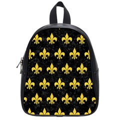 Royal1 Black Marble & Yellow Colored Pencil School Bag (small)