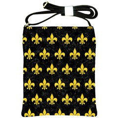 Royal1 Black Marble & Yellow Colored Pencil Shoulder Sling Bags