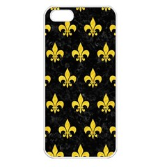Royal1 Black Marble & Yellow Colored Pencil Apple Iphone 5 Seamless Case (white)