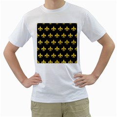 Royal1 Black Marble & Yellow Colored Pencil Men s T Shirt (white)