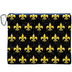 Royal1 Black Marble & Yellow Colored Pencil Canvas Cosmetic Bag (xxxl)