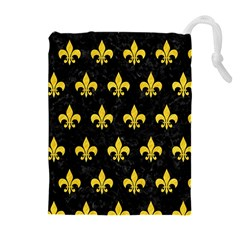 Royal1 Black Marble & Yellow Colored Pencil Drawstring Pouches (extra Large)