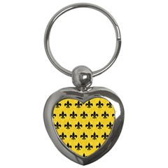 Royal1 Black Marble & Yellow Colored Pencil (r) Key Chains (heart)