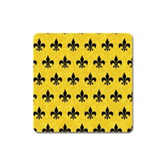 Royal1 Black Marble & Yellow Colored Pencil (r) Square Magnet