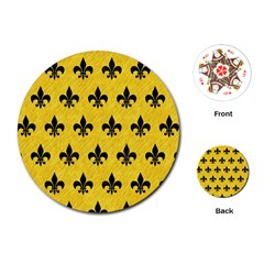 Royal1 Black Marble & Yellow Colored Pencil (r) Playing Cards (round)
