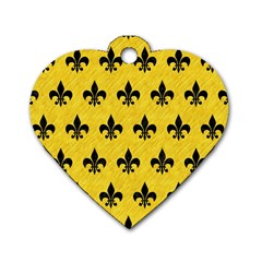Royal1 Black Marble & Yellow Colored Pencil (r) Dog Tag Heart (two Sides)