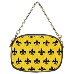Royal1 Black Marble & Yellow Colored Pencil (r) Chain Purses (two Sides)