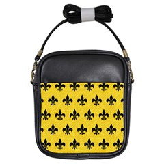 Royal1 Black Marble & Yellow Colored Pencil (r) Girls Sling Bags