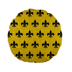 Royal1 Black Marble & Yellow Colored Pencil (r) Standard 15  Premium Round Cushions