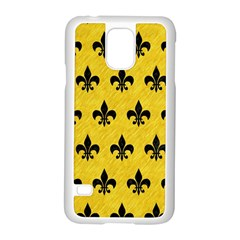 Royal1 Black Marble & Yellow Colored Pencil (r) Samsung Galaxy S5 Case (white)