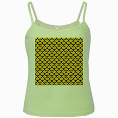 Scales1 Black Marble & Yellow Colored Pencil Green Spaghetti Tank