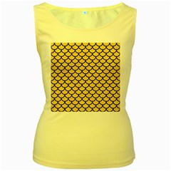 Scales1 Black Marble & Yellow Colored Pencil Women s Yellow Tank Top