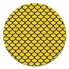 Scales1 Black Marble & Yellow Colored Pencil Magnet 5  (round)