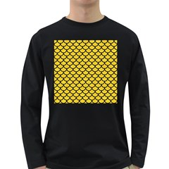Scales1 Black Marble & Yellow Colored Pencil Long Sleeve Dark T Shirts