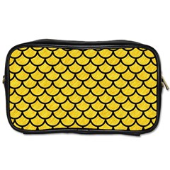 Scales1 Black Marble & Yellow Colored Pencil Toiletries Bags