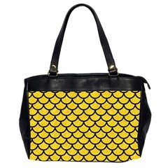 Scales1 Black Marble & Yellow Colored Pencil Office Handbags (2 Sides)