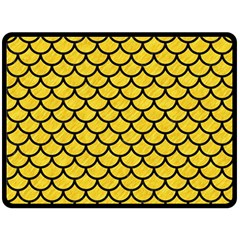Scales1 Black Marble & Yellow Colored Pencil Fleece Blanket (large)