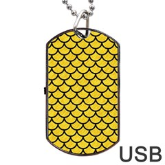 Scales1 Black Marble & Yellow Colored Pencil Dog Tag Usb Flash (one Side)