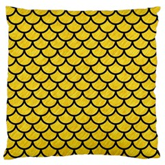 Scales1 Black Marble & Yellow Colored Pencil Large Cushion Case (one Side)
