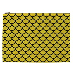 Scales1 Black Marble & Yellow Colored Pencil Cosmetic Bag (xxl)