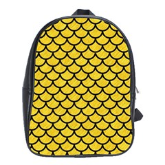Scales1 Black Marble & Yellow Colored Pencil School Bag (xl)
