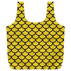 Scales1 Black Marble & Yellow Colored Pencil Full Print Recycle Bags (l)