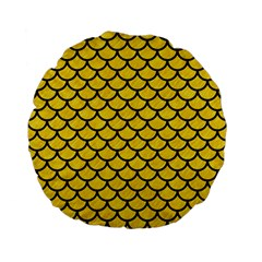Scales1 Black Marble & Yellow Colored Pencil Standard 15  Premium Flano Round Cushions