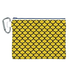Scales1 Black Marble & Yellow Colored Pencil Canvas Cosmetic Bag (l)