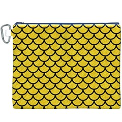 Scales1 Black Marble & Yellow Colored Pencil Canvas Cosmetic Bag (xxxl)