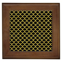 Scales1 Black Marble & Yellow Colored Pencil (r) Framed Tiles
