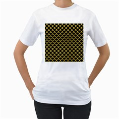 Scales1 Black Marble & Yellow Colored Pencil (r) Women s T Shirt (white) (two Sided)