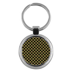 Scales1 Black Marble & Yellow Colored Pencil (r) Key Chains (round)