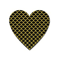 Scales1 Black Marble & Yellow Colored Pencil (r) Heart Magnet