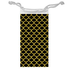 Scales1 Black Marble & Yellow Colored Pencil (r) Jewelry Bag