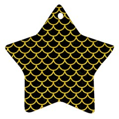 Scales1 Black Marble & Yellow Colored Pencil (r) Star Ornament (two Sides)