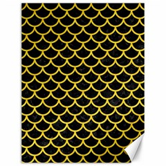 Scales1 Black Marble & Yellow Colored Pencil (r) Canvas 12  X 16