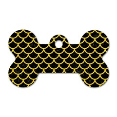 Scales1 Black Marble & Yellow Colored Pencil (r) Dog Tag Bone (one Side)