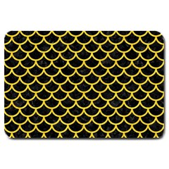 Scales1 Black Marble & Yellow Colored Pencil (r) Large Doormat