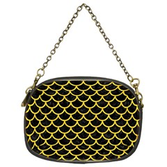 Scales1 Black Marble & Yellow Colored Pencil (r) Chain Purses (one Side)