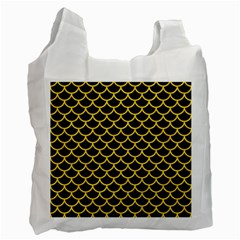 Scales1 Black Marble & Yellow Colored Pencil (r) Recycle Bag (two Side)