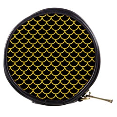 Scales1 Black Marble & Yellow Colored Pencil (r) Mini Makeup Bags